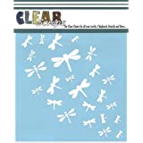 Clear Scraps CSSM6-DRAGN Translucent Plastic Film Stencil, Dragonfly Wall, 6-Inch x 6-Inch