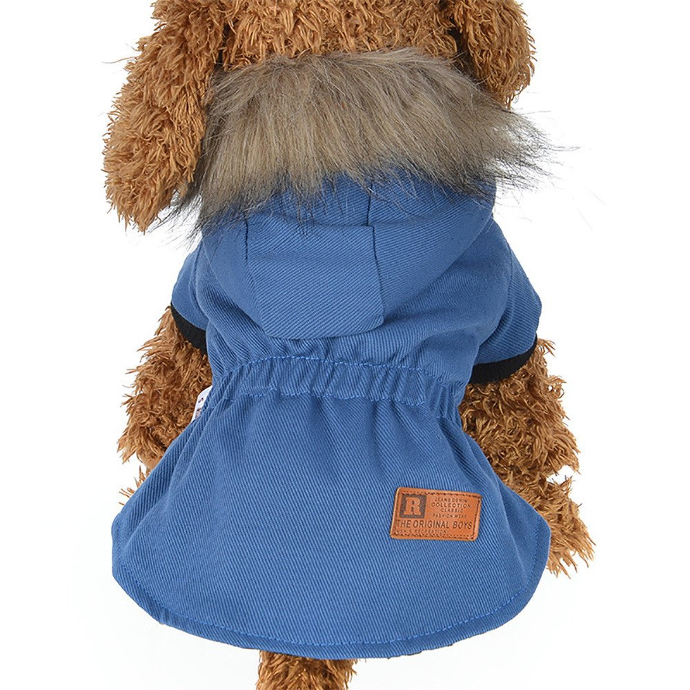 Cat Pet Small Dog Doggy Clothing Winter Warm Padded Thickening Vest Coat Dog Costumes Pet Fur Collar Clothes Sweater Dog Shirt Apparel Doggy Vest Puppy Sweatshirt Outfits Doggy Dress (Blue, XL) by succeedtop (Image #1)