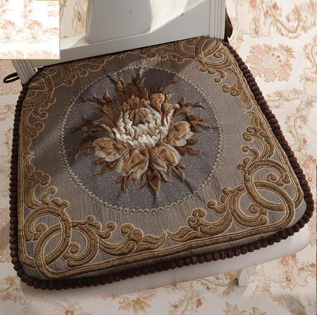 Sideli -2pc Classic Decorative Chair pad Seat Cushion with Memory Filling and 2 Belt for Fix 16''x16'' (2, peony-coffee)