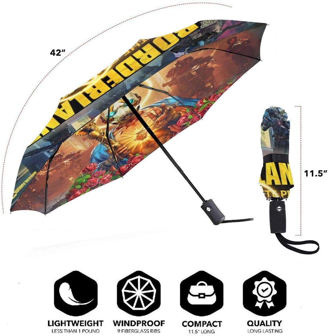 Borderlands Poster 3D Pattern PG Cloth Lightweight Foldable Tri-fold Umbrealla For Rain Sunshade Anti-UV,Qucik-dry Wind Resistance Automatic Umbrellas