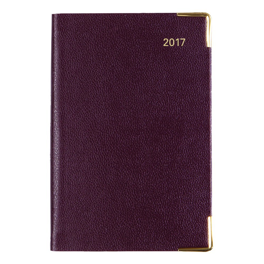Letts 2017 Classic Week to View Planner with Gold Corners, Burgundy, English, 4.25-Inch by 2.75-Inch