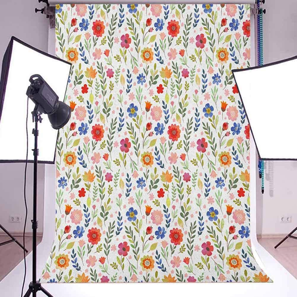 7x10 FT Watercolor Vinyl Photography Backdrop,Floral Patterned Illustration with Leaves and Wildflowers Abstract Botanical Background for Baby Shower Bridal Wedding Studio Photography Pictures