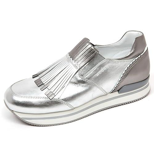 C7906 mocassino donna HOGAN H222 sneaker frangia argento shoes woman