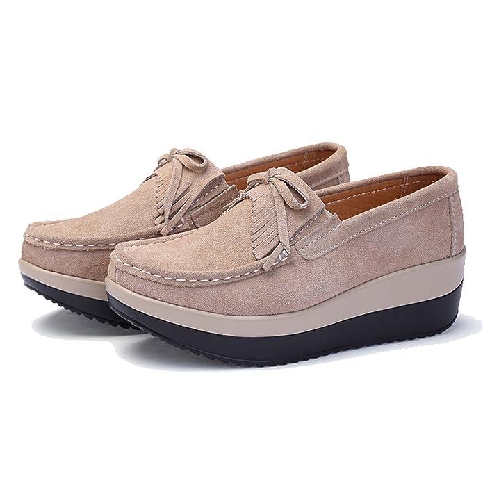 TRULAND Mocasines con Borlas Confort Plataforma para Mujer en Cuero de Ante: Amazon.es: Zapatos y complementos