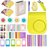 Followsun 10 in 1 Instant Camera Accessories for Fujifilm Instax Mini 8 8S 8+ 9 Include Yellow PU Case/Photo Album/Selfie Lens/Colored Filters/Border Stickers/Corner Stickers/Hang Frames/Table Frames