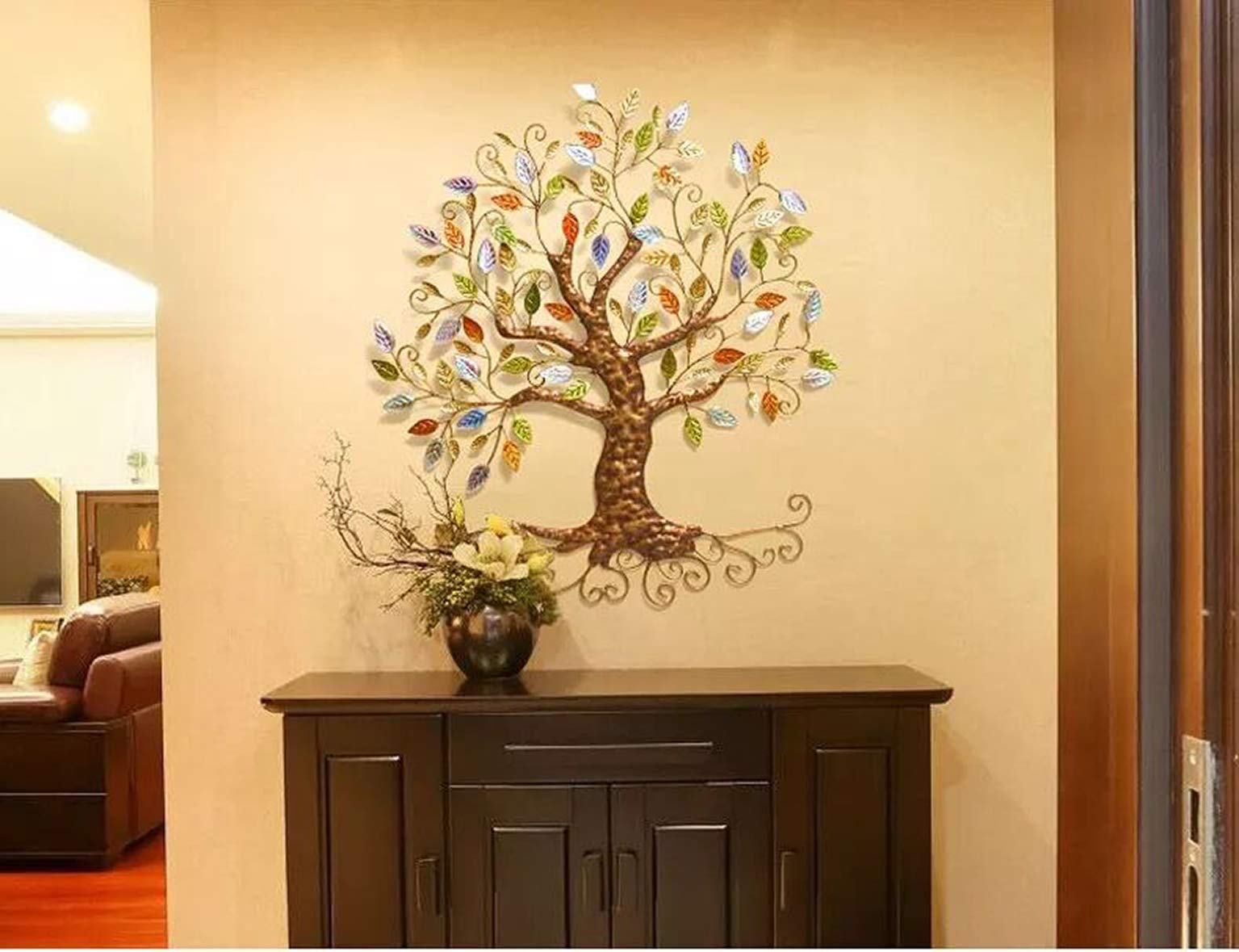 Tree of Life - Metal Tree Wall Sculpture, Gold Tree Home Decor by YJ Home