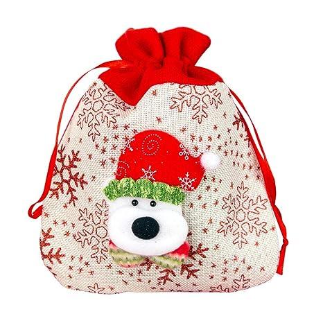 Topdo Bolsa de Regalo Navidad con Cajas de Cuerda Atado Portátil Oso Gift Bag Decoración Colgante
