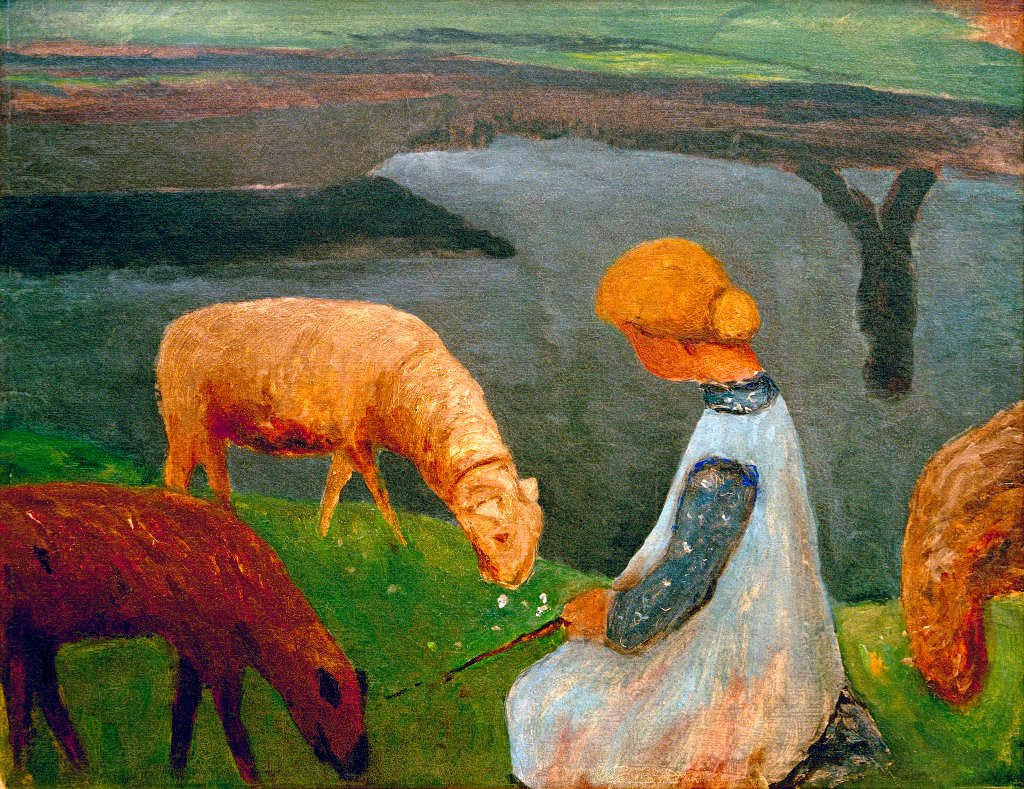 Kunstdruck Poster  Paula Modersohn-Becker Sitzendes Mädchen mit Schafen am Weiher I - hochwertiger Druck, Bild, Kunstposter, 70x55 cm