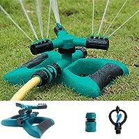 LILUOE Garden Sprinkler, Automatic 360 Rotating Adjustable Garden Automatic Lawn Water Sprinkler Durable 3 Arm Sprayer