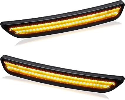 Pack of 2 RUXIFEY Front LED Side Marker Lights Smoked Lens Compatible with 2010-2014 Ford Mustang Amber