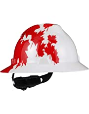 MSA 10082234 Slotted V-Gard Polyethylene Hat with Fas Trac III Suspension, White with Red Maple Leaf
