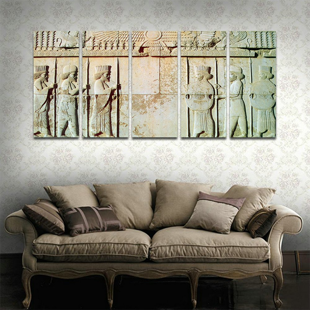 Cyiart 5 panels wall art persepolis persian soldiers statue modern home decorative painting canvas print picture vintage poster wall for home decor 69 w