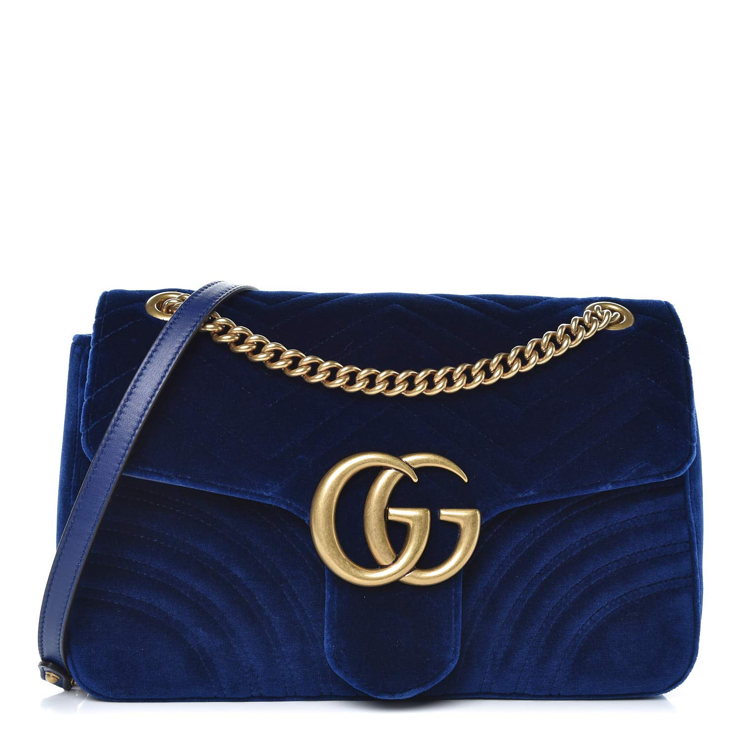 0f2f80c8f137 Amazon.com: Gucci Marmont Mini Small Chevron Cobalt Navy Blue Velvet ...