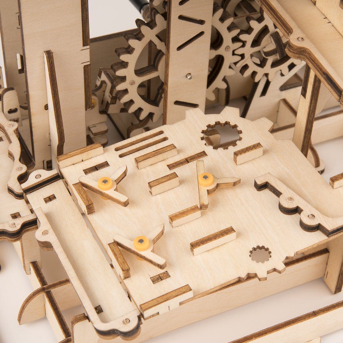 ROBOTIME 3D Wooden Puzzle Brain Teaser Toys Mechanical Gears Kit Unique Craft Kits Tower Coaster with Steel Balls Executive Desk Toys Best Gifts for Adults and Kids by ROBOTIME (Image #4)