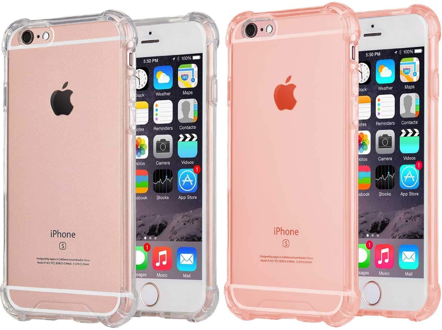 [2Pack] CaseHQ Compatible with iPhone 6 Plus Case, iPhone 6S Plus Case,Crystal Clear Enhanced Grip Protective Defender Cover Soft TPU Shell Shock-Absorption Air Cushioned 4 Corners Clear+Pink
