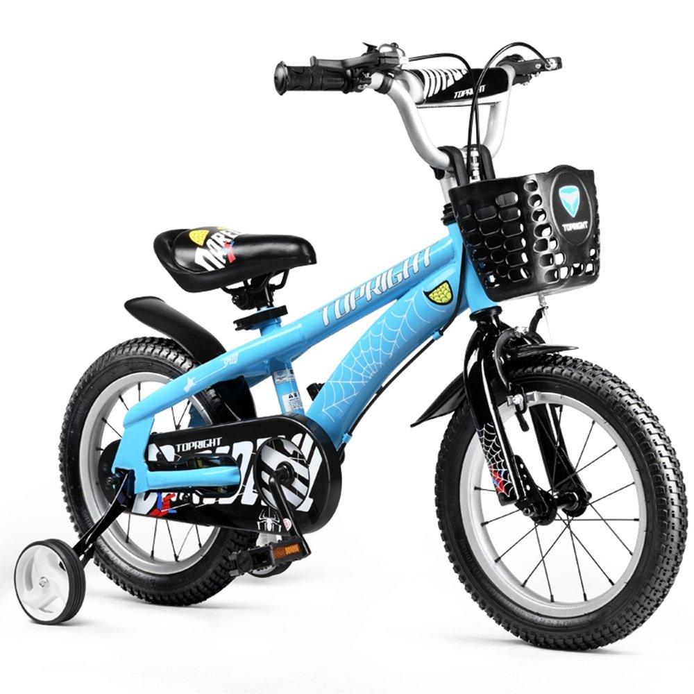 HAIZHEN マウンテンバイク トレーニングホイールとバスケット付きの少年のバイクガールズバイク、子供のための完璧なギフト。 12インチ、14インチ、16インチ、18インチ、ブルーまたはレッド 新生児 B07C41J592 14 inch|青 青 14 inch