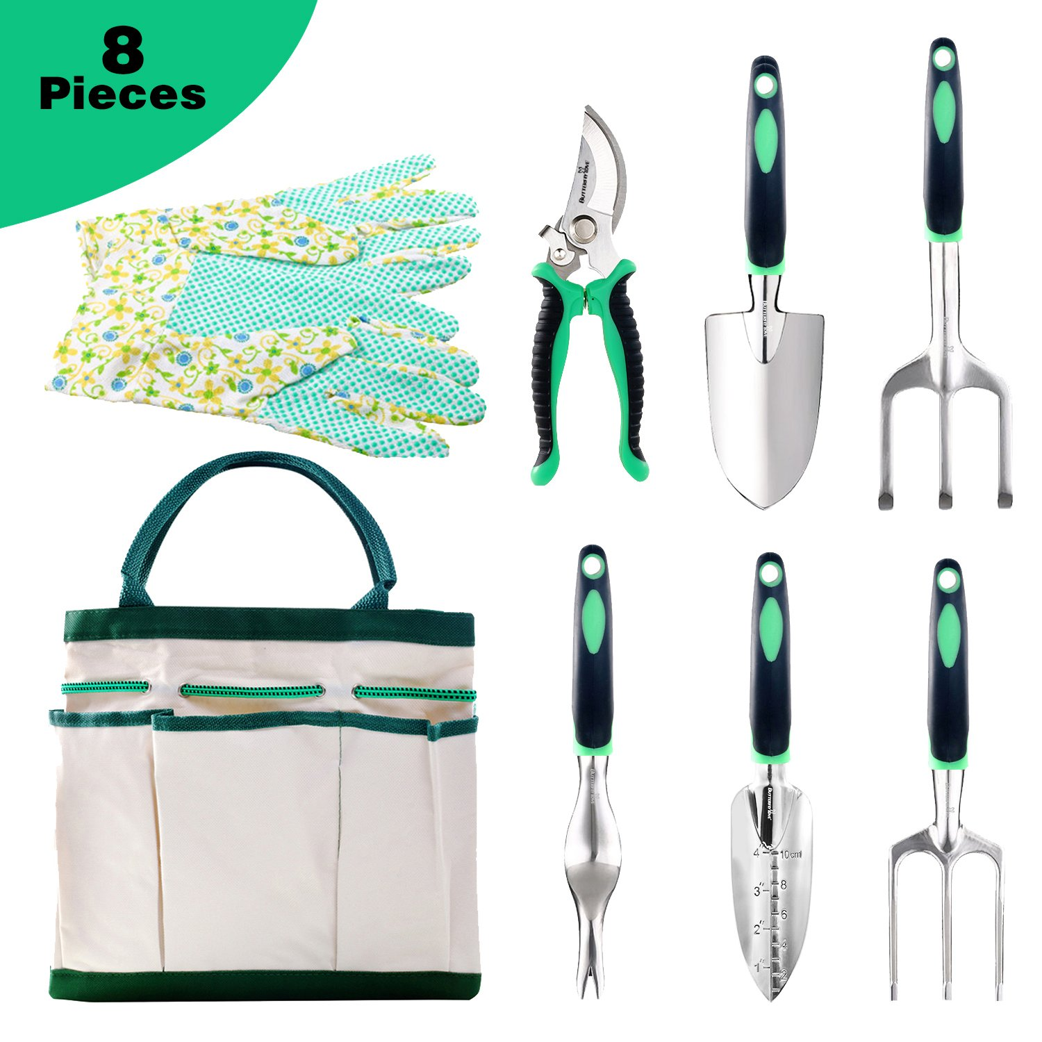 Butterfly Love Garden Tool Set, 6 Piece Stainless Steel Heavy Duty Gardening Kit with Soft Rubberized Non-Slip Handle -Durable Storage Tote Bag and Gloves for Digging Planting