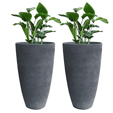 Tall Planters Set 2 Flower Pots, 20  Each, Patio Deck Indoor Outdoor Garden Resin Planters, Gray