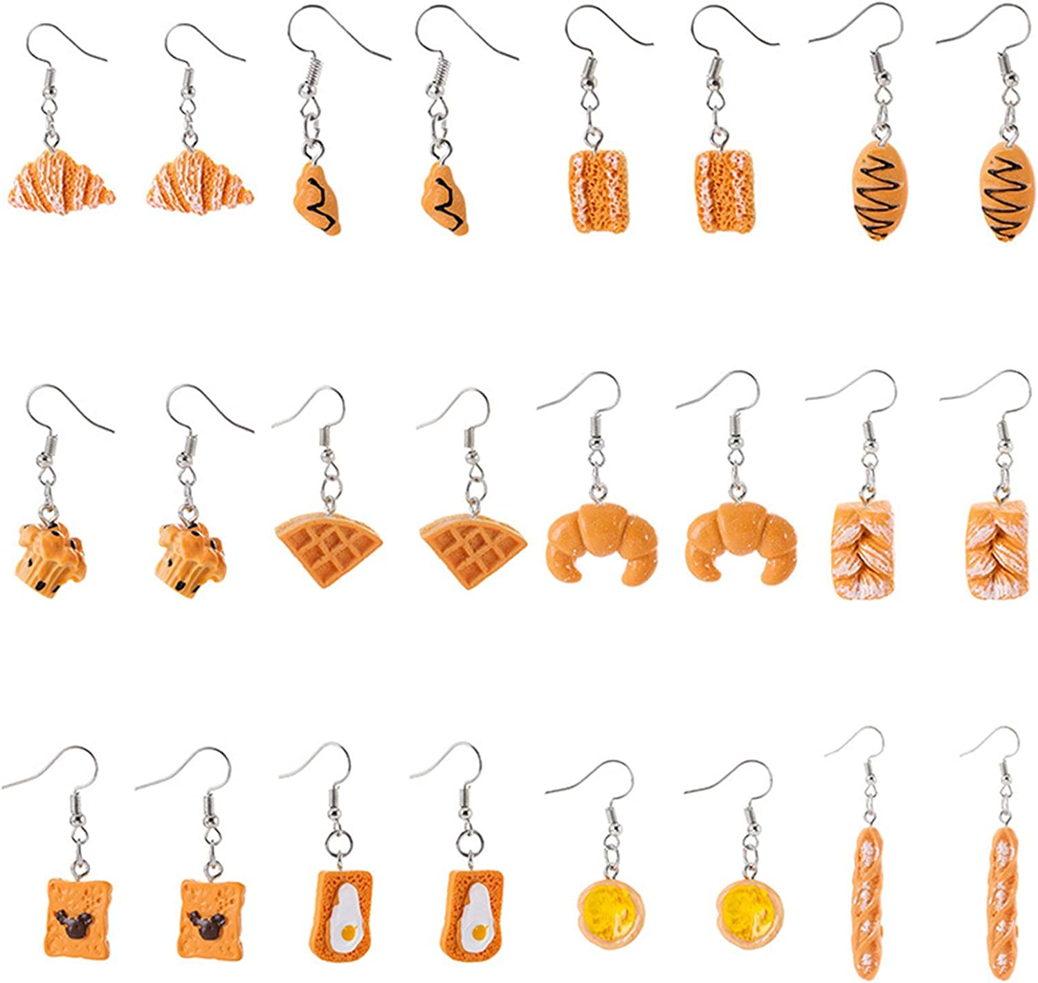 Cute 12 Pairs Handmade Simulation Food Dangle Drop Earrings Set Unique Lifelike Waffle Croissant Baguette Cupcake Croissant French Bread Toast Egg Tart Drop Earrings Set for Women Girls Jewelry Gifts