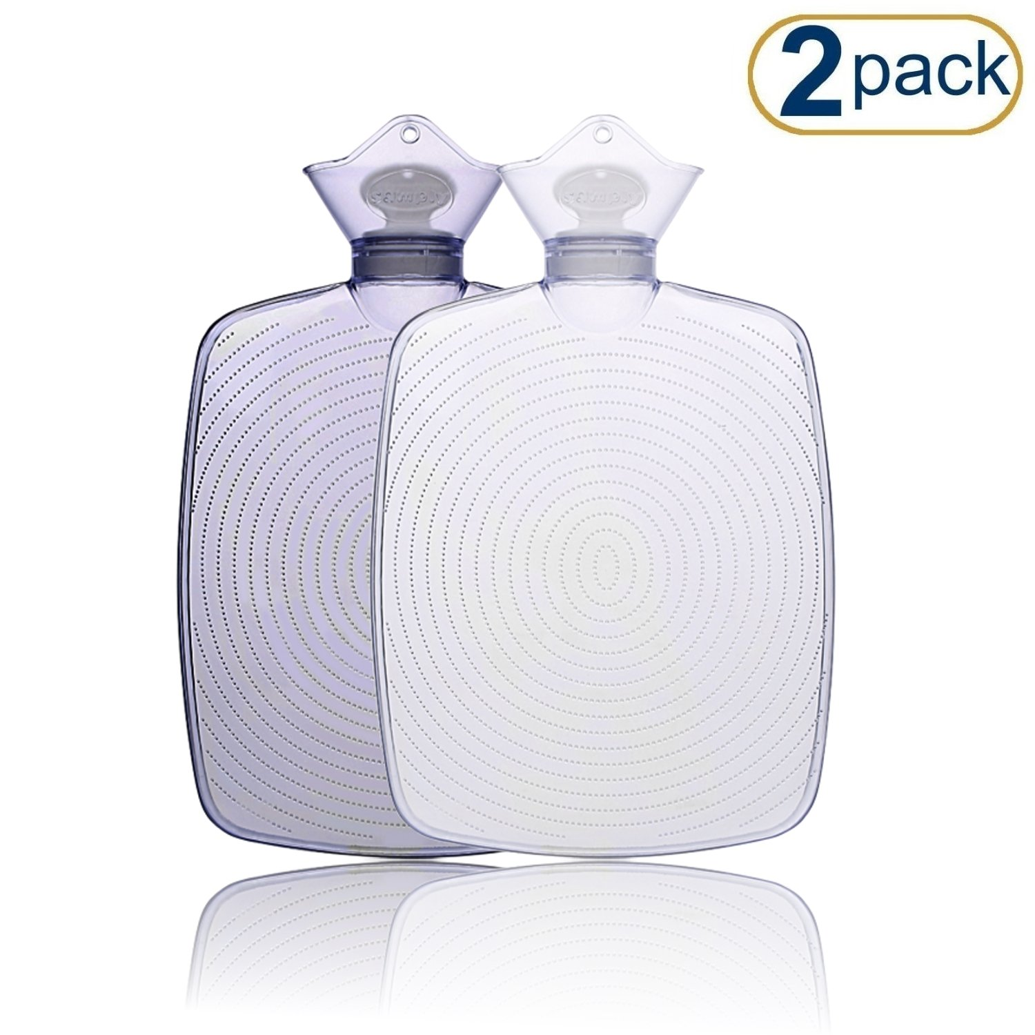 Hot Water Bottle (2Pack) – Comfortably Sleep with Maximum Warmth – Soothe All Types of Pain & Swelling – Simply Heat Water & Fill Bag to Begin Relief – Use as a Cold Water Bottle & Ice Pack
