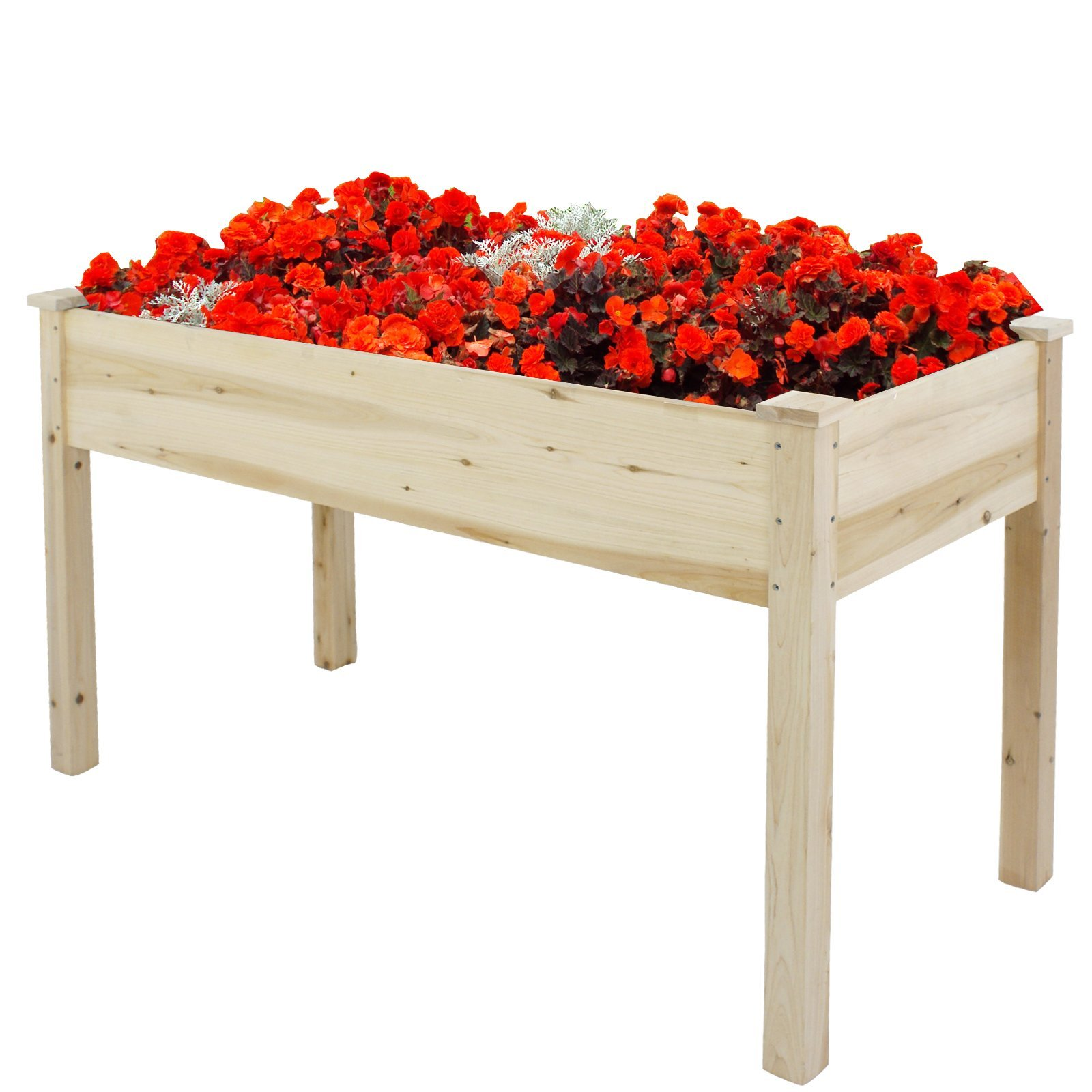 ZENY Patio Wooden Raised Garden Planter Bed 30'' High Elevated Planter Kit Boxes Grow Gardening Vegetable Flowers Plants