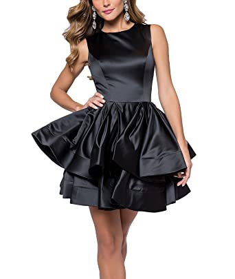 6fb58e978824e Jicjichos Women's Satin Tier 2017 Homecoming Dresses Short Prom Ball Gowns  J011 at Amazon Women's Clothing store: