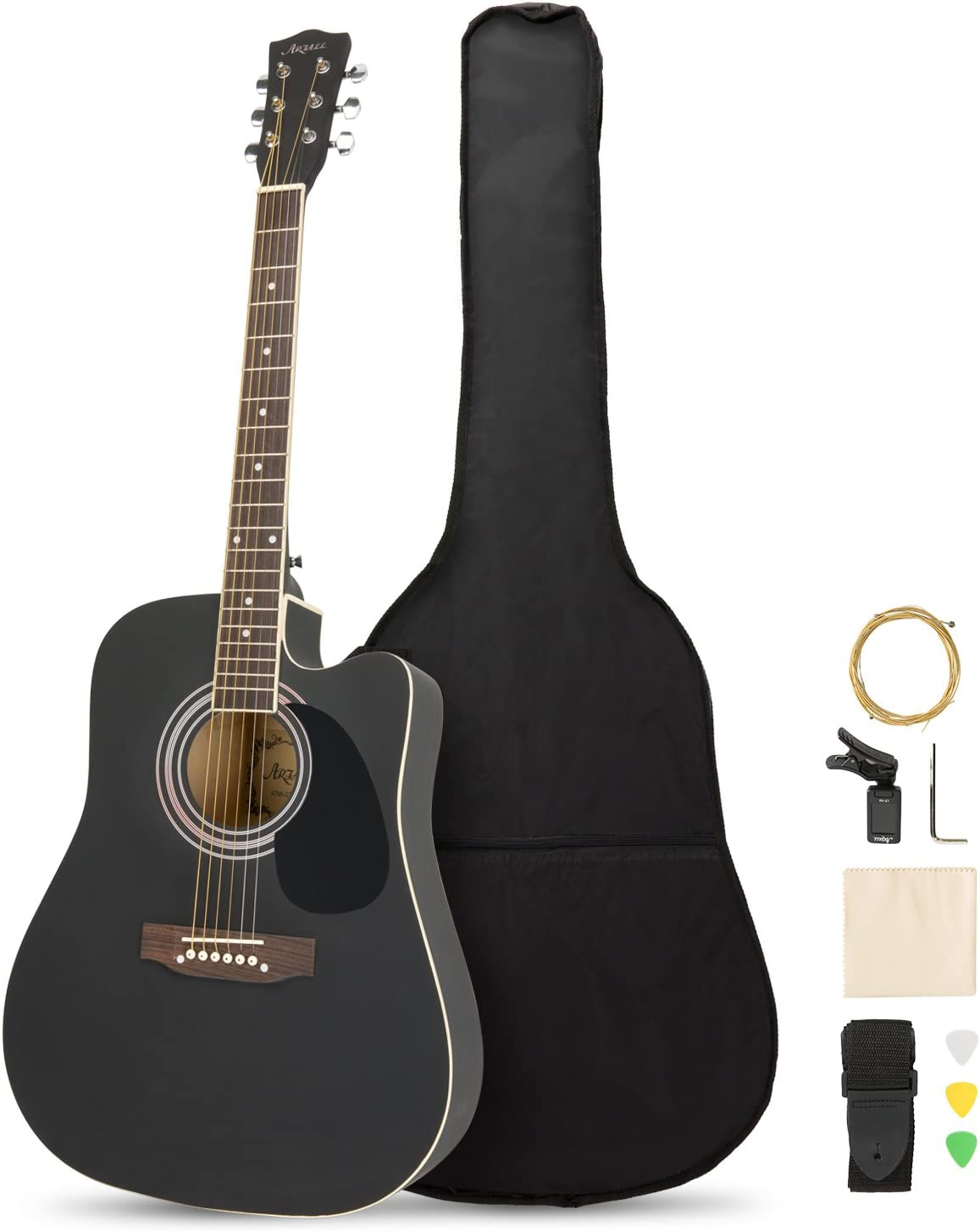 ARTALL 104 cm Equipo para principiantes de guitarra recortada acústica de madera maciza hecha a mano con funda, afinador, cuerdas, selecciones, correa, negro mate