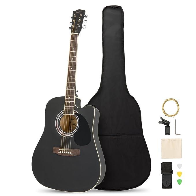 Artall - Guitarra acústica cutaway hecha a mano de madera maciza (99-104 cm) para principiante con funda, afinador, cuerdas, púas y correa: Amazon.es: ...