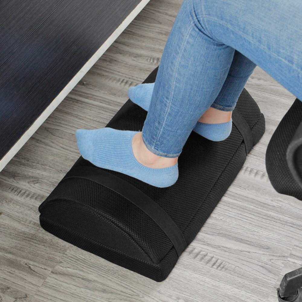 Footrest for Under Desk with Non-Slip Massaging Micro Beads Base Firm Foam Half-Cylinder Ergonomic Height Adjustable Footstool for Home Office Desk Airplane Travel (Black)
