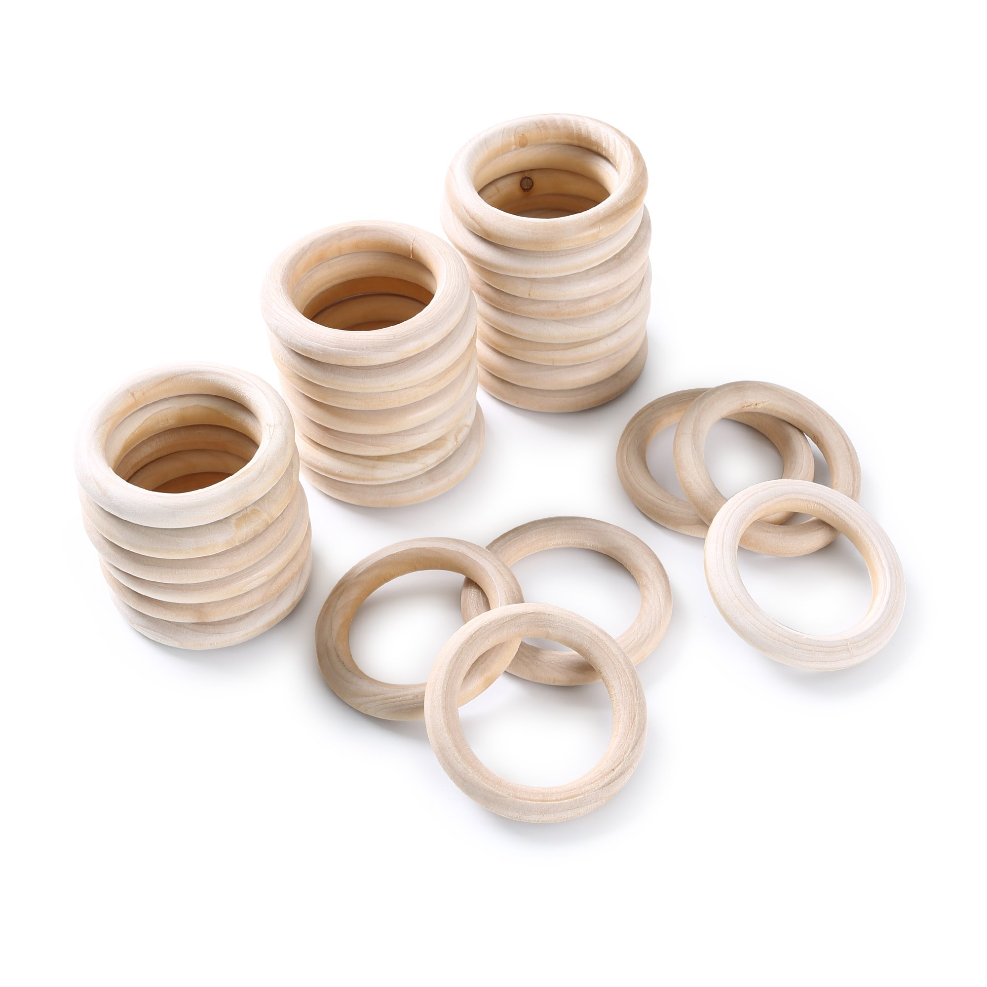 Efivs Arts 30pcs Natural Wood Rings for Craft, Ring Pendant and Connectors Jewelry Making DIY Projects (6.5cm) by Efivs Arts