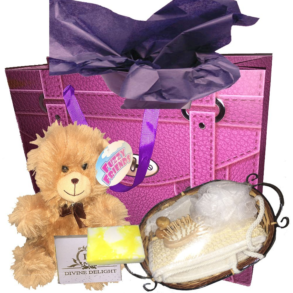 Ladies Spa Gift Set - a sisal back scrubber, bath sponge, small wooden hairbrush, pumice stone and wooden roller massage tool, homemade soap bar, gift bag and plush teddy bear