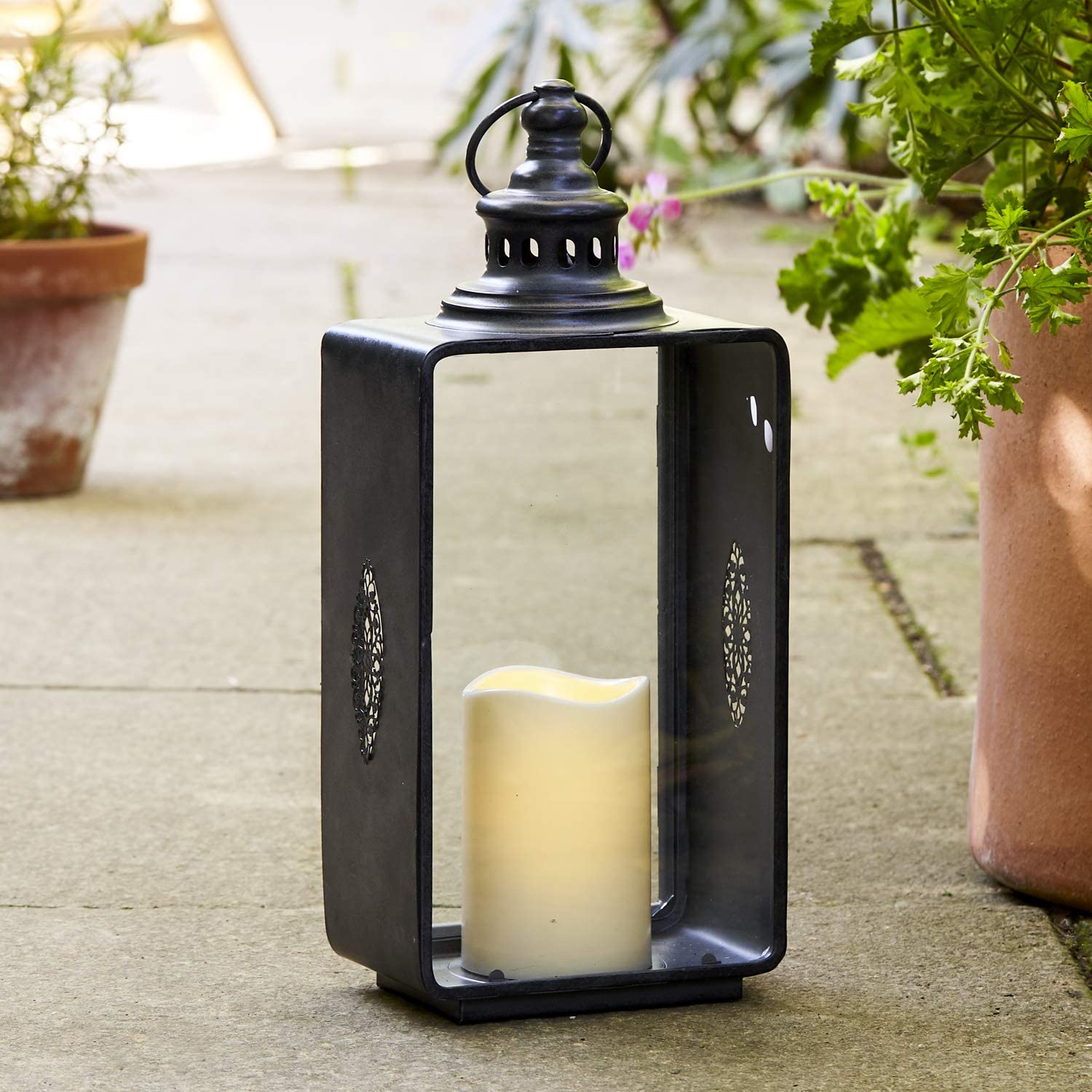 Lights4fun Large Grey Garden Candle Lantern Flickering LED Outdoor with Timer 36cm