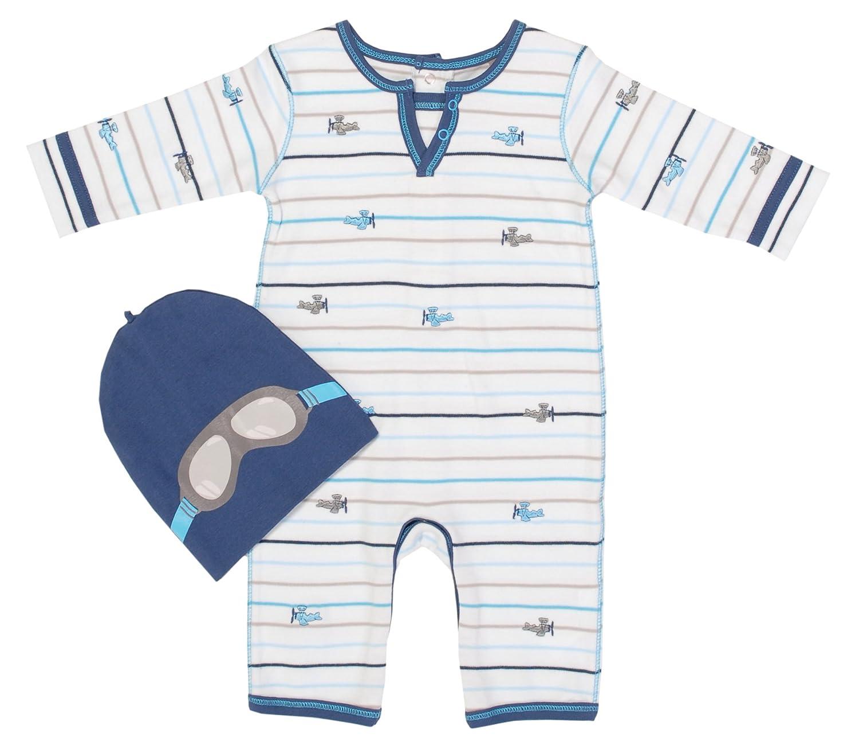 Petit Lem Infant Boy Airplane Romper with Hat Bodysuits