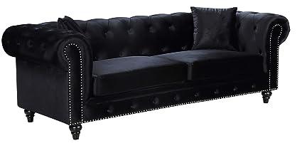 Amazon.com: Meridian Furniture 662BL-S Chesterfield Sofa Black ...
