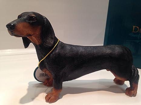 Statuetta In Miniatura Decorativa A Forma Di Cane Bassotto Nero E