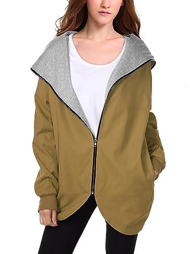 WAJAT - Abrigo Chaqueta para Mujer con Bolsillos Caqui Large