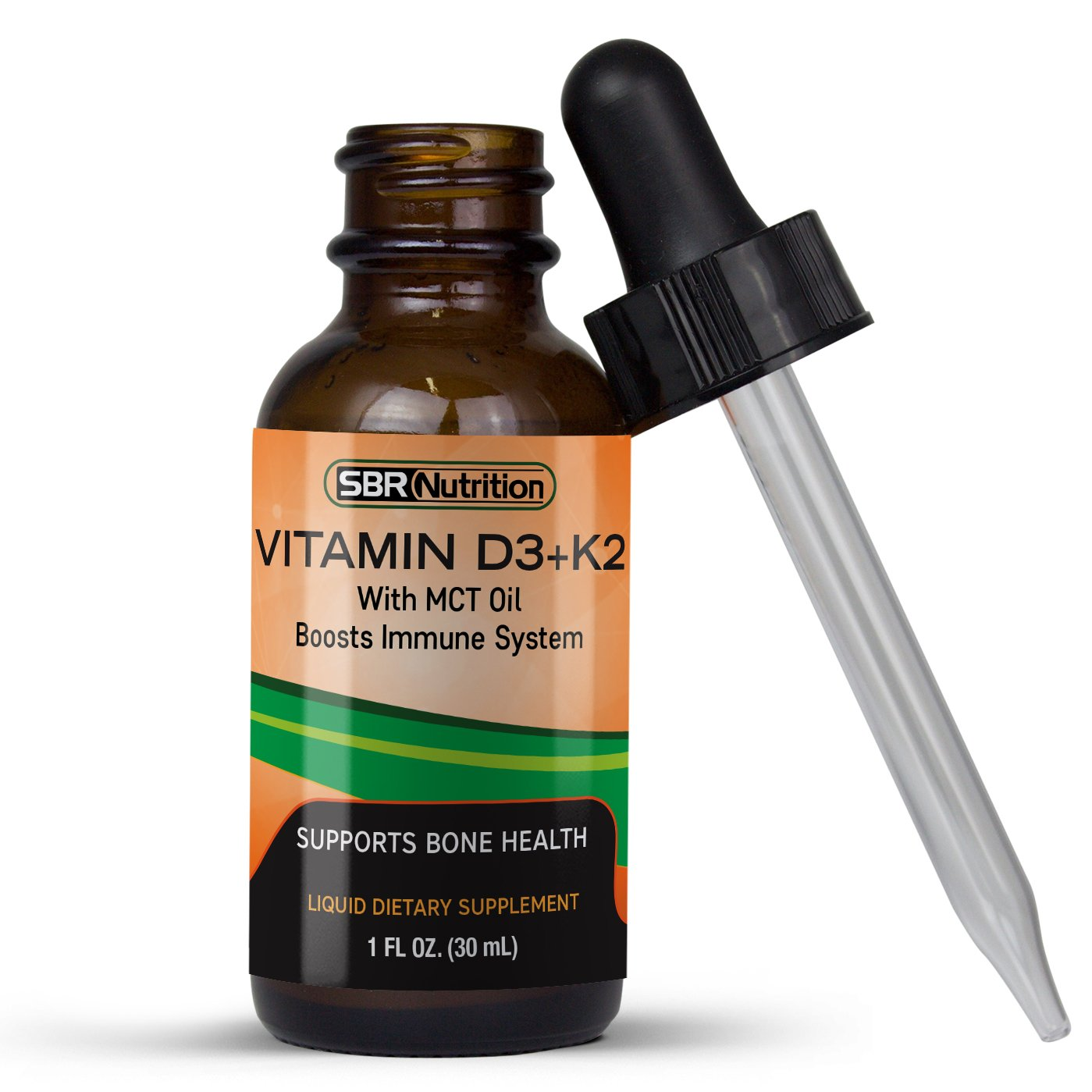 MAX ABSORPTION, Vitamin D3 + K2 (MK-7) Liquid Drops with MCT Oil, Helps Support Strong Bones and Healthy Heart