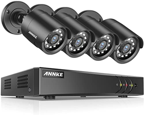 ANNKE 8 Channel Security Camera System 1080P Lite H.264 CCTV DVR Recorder and 4 1080P Weatherproof Indoor Outdoor Surveillance Camera