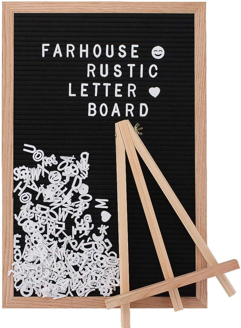 Letter Board with Letters and Numbers, for Home, Announcements, Menus and Farmhouse Kitchen Decor Felt Letter Message Board, 2 Letter Bags, 1 Vintage Stand, 1 Black Message Board