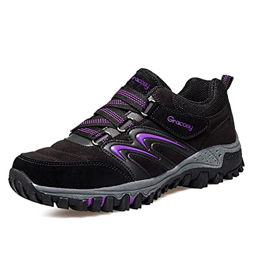 gracosy Women's Outdoor Hiking Shoes Waterproof Walking Shoes Low Rise  Climbing Shoes Anti-Slip Trekking