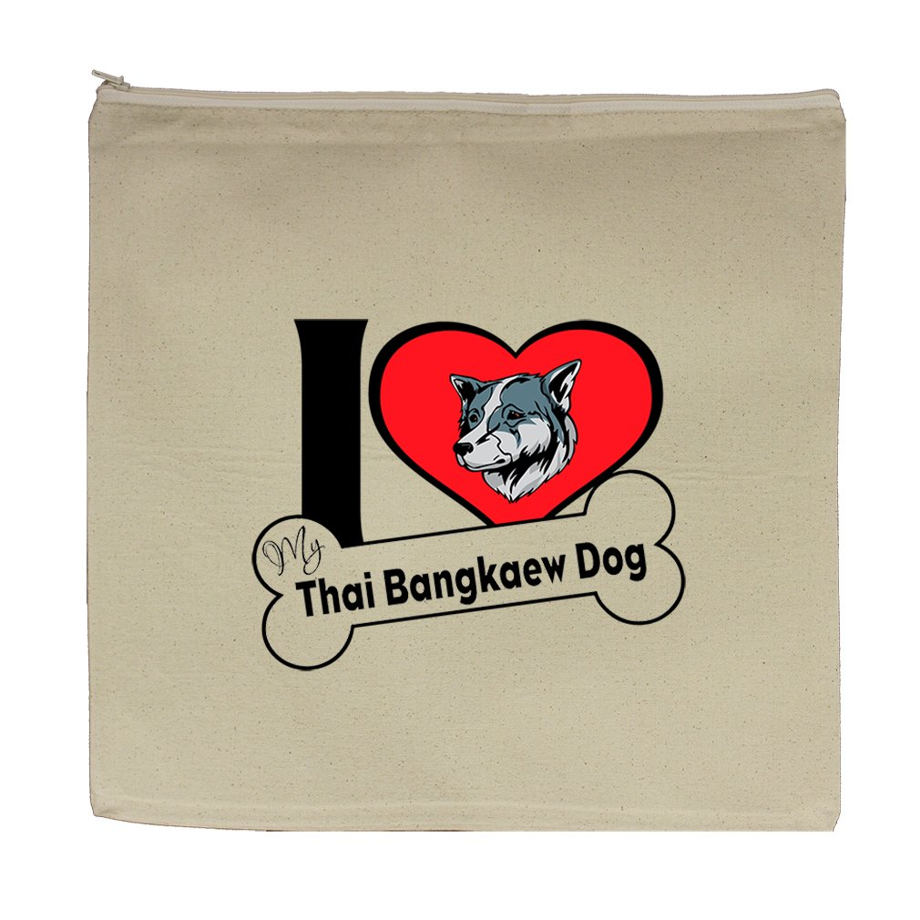 Canvas Zipper Pouch Bag 5.5''X7.5'' I Love My Thai Bangkaew Dogdog Style 2 by Style in Print