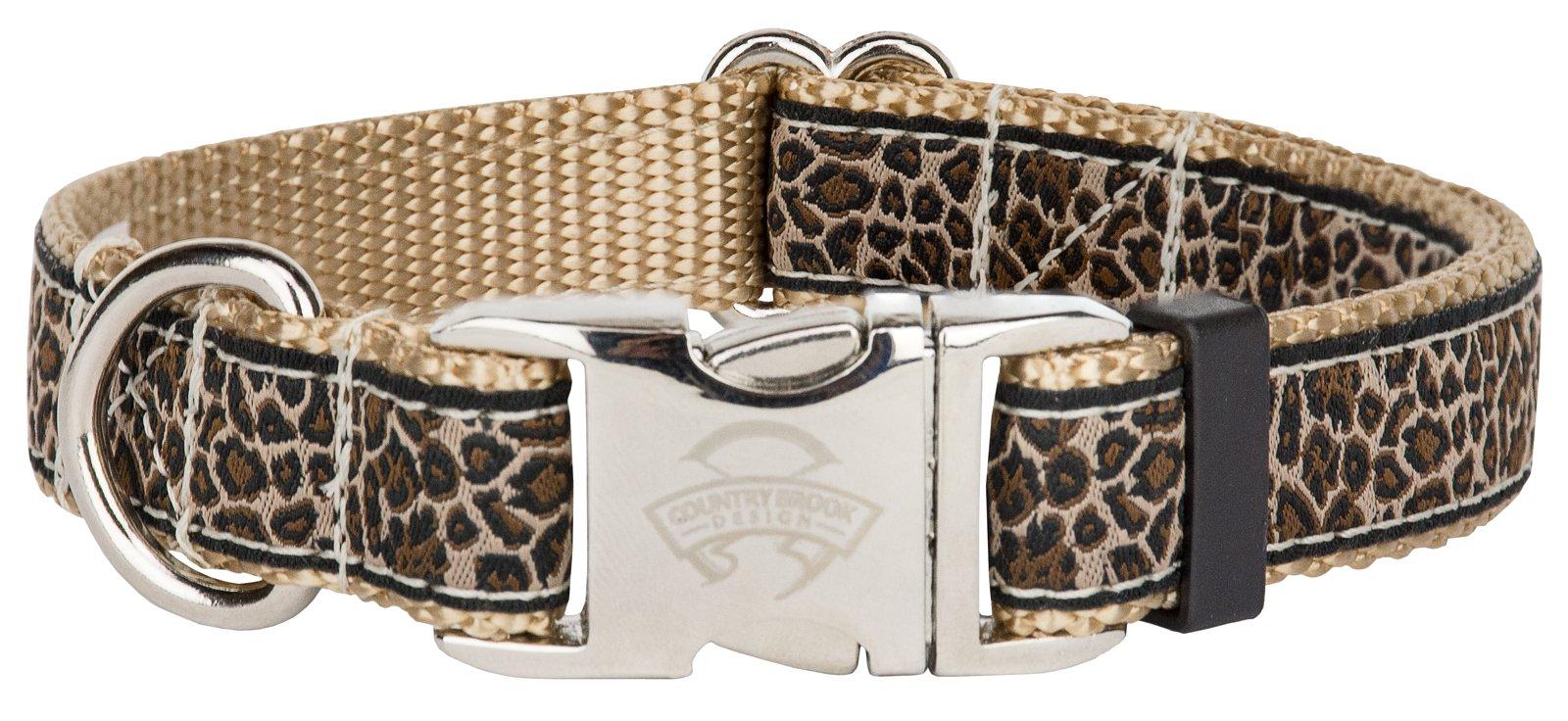 Country Brook Design Premium Leopard Print Ribbon Dog Collar Limited Edition - Medium