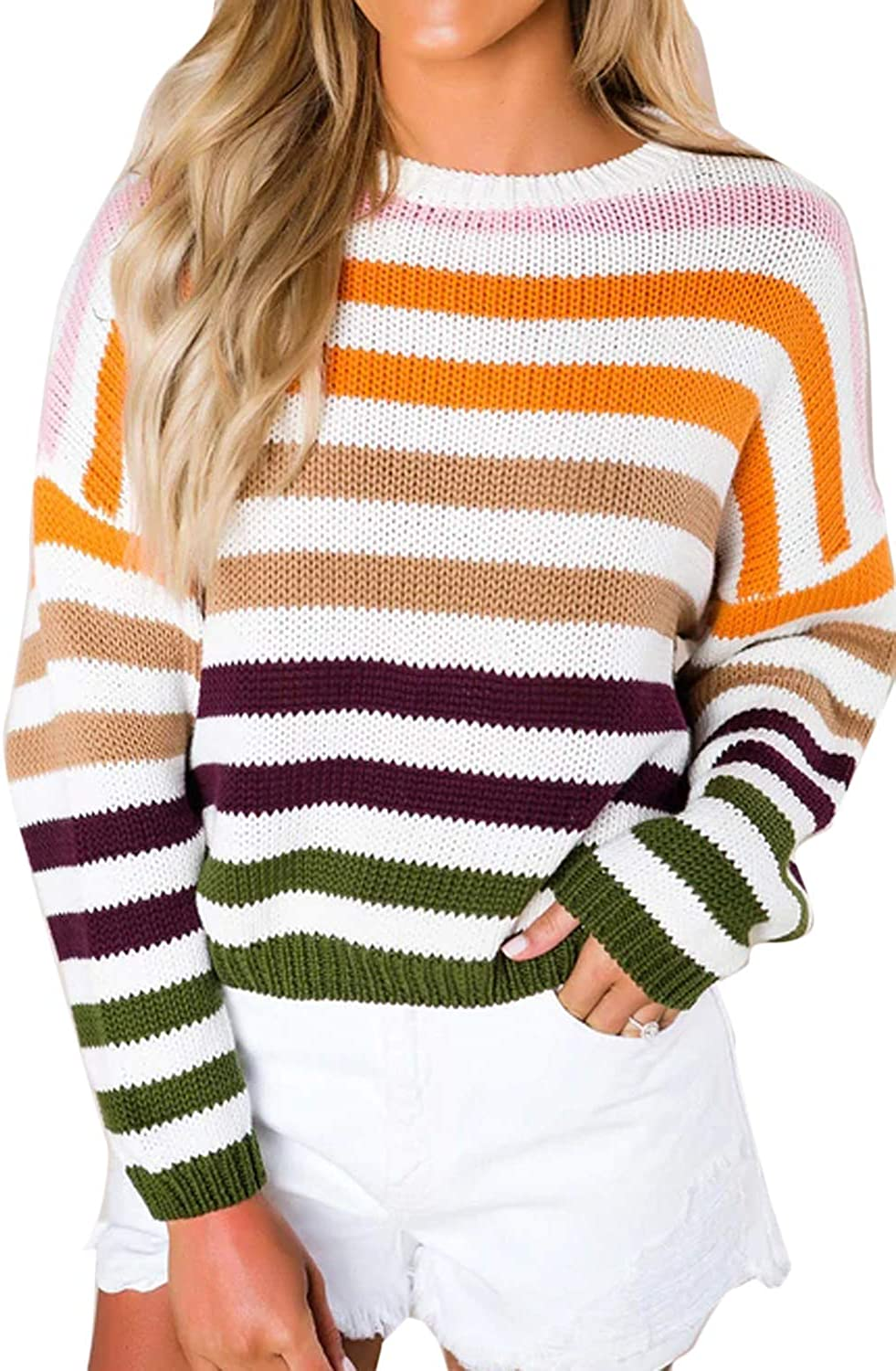 Youdiao Women Lightweight Sweater Striped Color Block Oversized Casual Crew Neck Long Sleeve Knit Pullover Jumper Tops