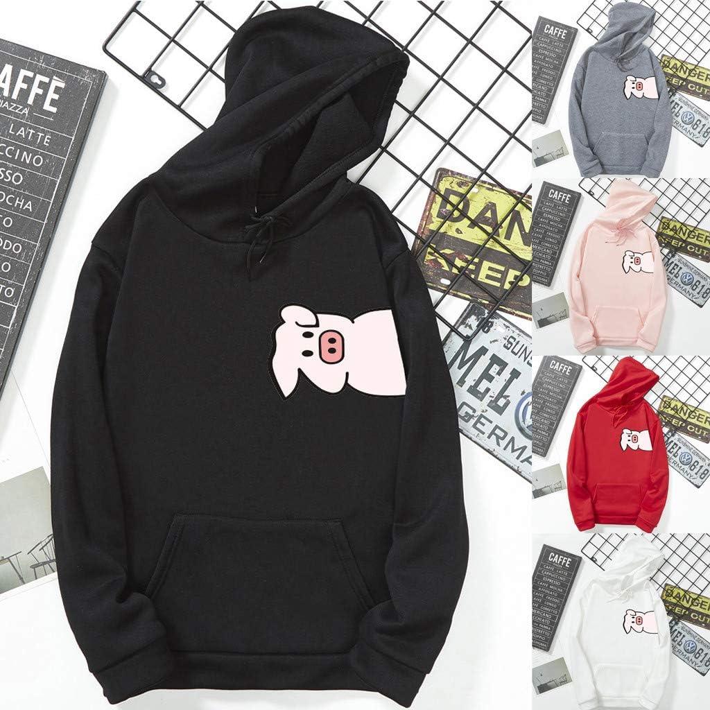 Womens Pig Hoodie Autumn Long Sleeve Sweatshirt Letters Hooded Pullover Tops