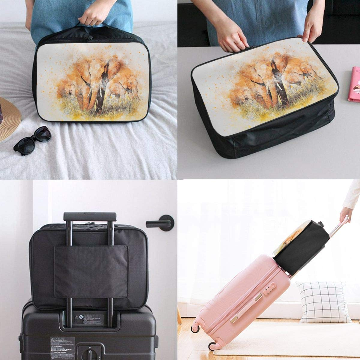 Elephant Watercolor Emotion African Travel Lightweight Waterproof Foldable Storage Carry Luggage Large Capacity Portable Luggage Bag Duffel Bag