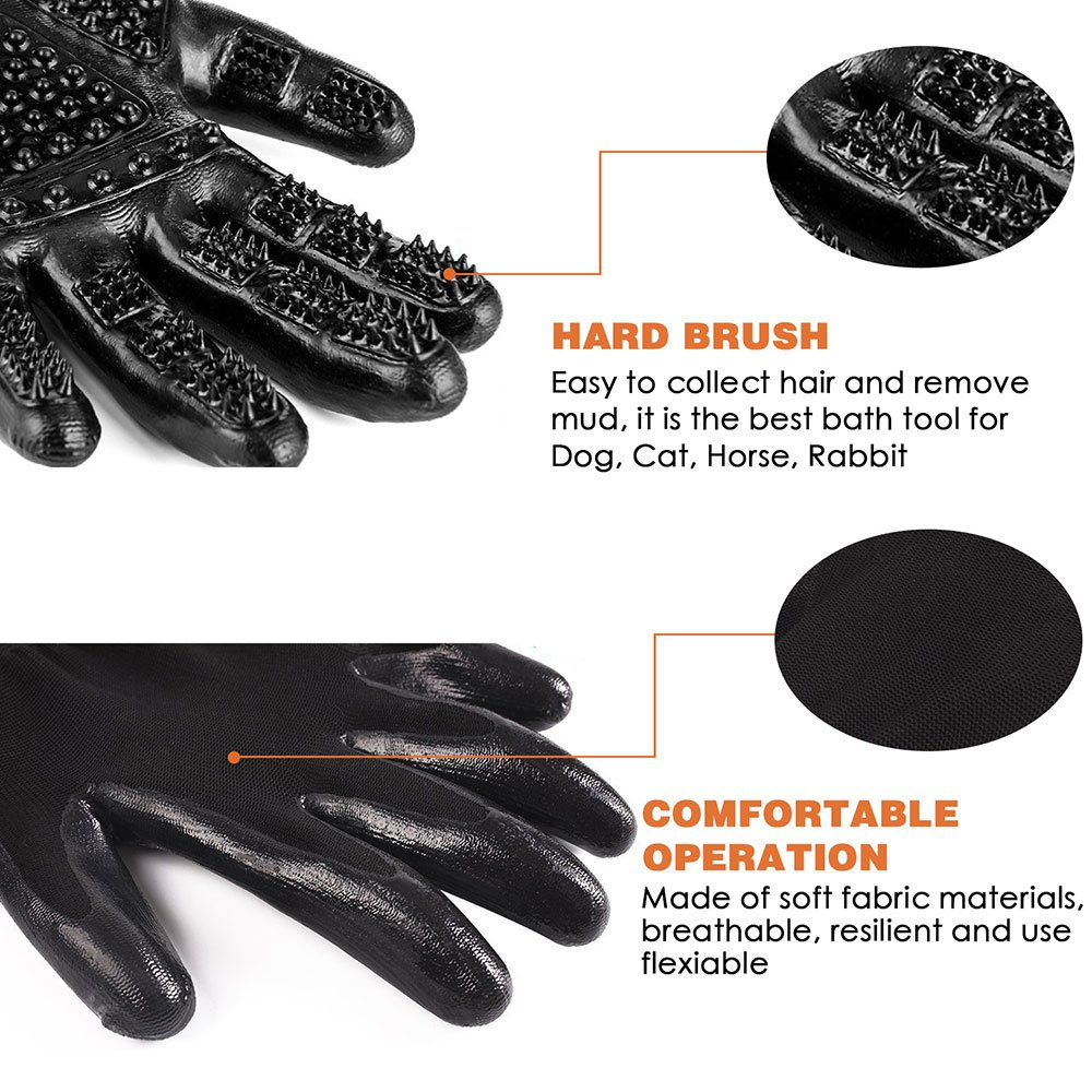 RoyalCare Pet Grooming Glove Gentle Deshedding Pet Brush Glove - Pet Hair Removal Mitt with Enhanced Five Finger Design for Long & Short Fur Dogs Cats Horses Rabbits - 1 Pair (Black) by RoyalCare (Image #1)