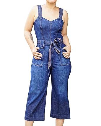 72cd0ee925b4 QIANMEI Women's Summer Sleeveless Denim Jumpsuit High Waist Wide Leg Pants  Romper Overalls (Small,