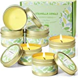 SCENTORINI Citronella Candles, 6x2.5oz Soy Wax Lemongrass Candles, Portable Travel Tin Citronella Scented Candle Gift Set for