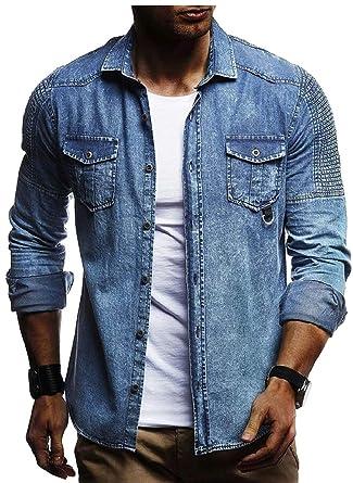Qiangjinjiu Men Casual Dress Shirts Button Down Shirts Fashion Denim Shirt