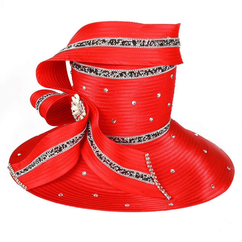 Koola Black Women Church Kentucky Derby Wide Brim Wedding Cocktail Party Hats (Red)